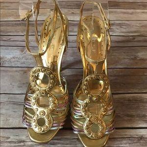 BCBGirls Gold Strappy Heels Size 8 1/2M